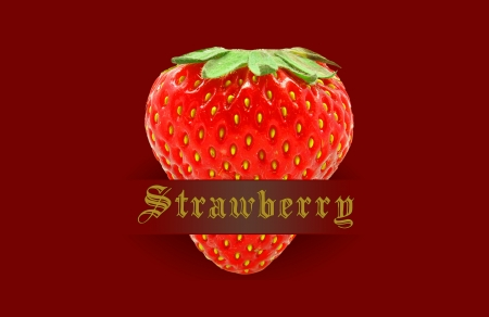 strawberry on a red background photo