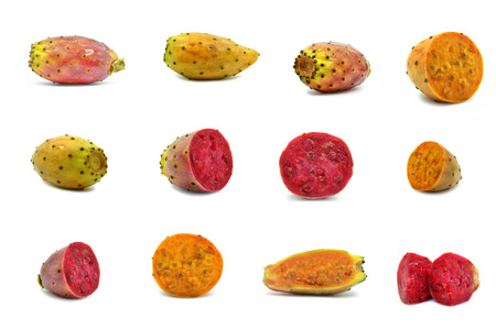 prickly pear fruit on a white background