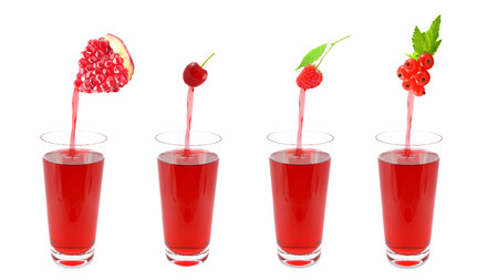 pours:  Fresh juice pours from fruits  in a glass  Photo on a white background