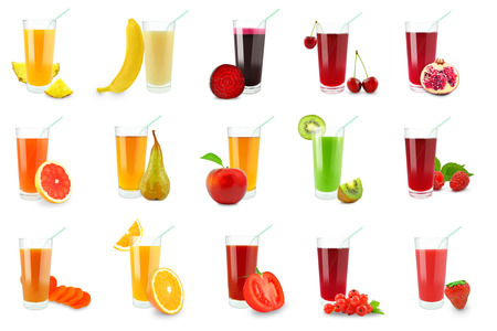 juices from fruits and vegetables on a white background  Stok Fotoğraf