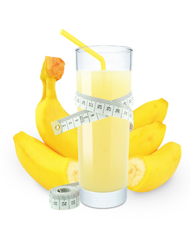 banana juice and meter on white background