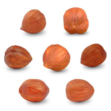 hazelnuts on a white