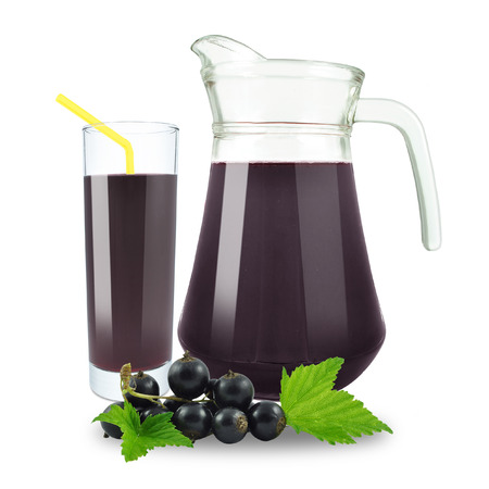 blackcurrant juice in a jug on a white background