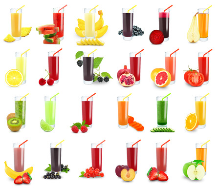 vegetable and fruit juice in glass on white background  版權商用圖片