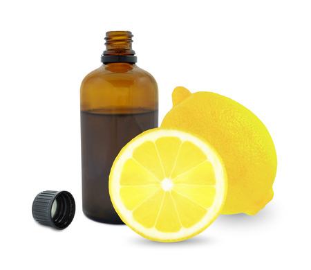 lemon oil in a bottle on a white background