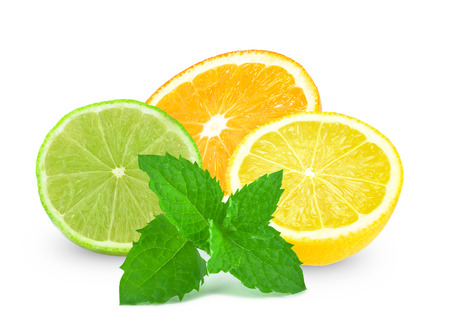 orange, lime, lemon and mint on a white background  Stock fotó