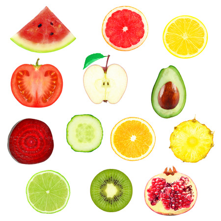 citruses: fresh slices of fruits and vegetables on a white background