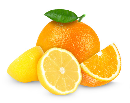 fresh lemon and orange isolated on white