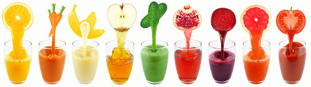 vegetable juices and fruit isolated on white