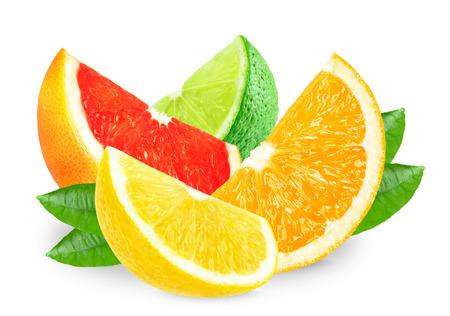 citrus slices isolated on white Stock fotó