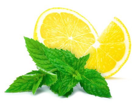 lemon slices: lemon and mint Stock Photo