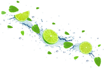 lime and water splash Stock Photo