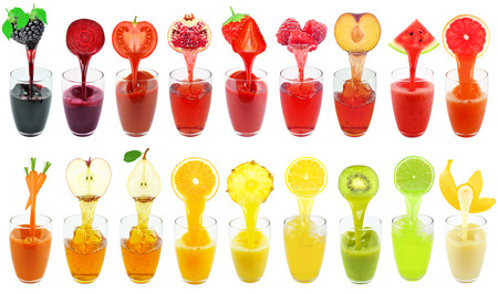 collage of fruit and vegetable juice isolated on white