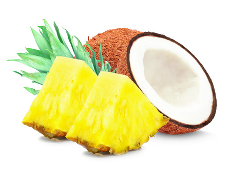 pineapple and coconut on a white background