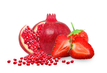 the strawberry: Pomegranate and strawberry isolated on white background Stock Photo