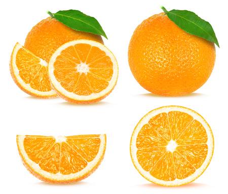 naranja: collage de naranja aislada sobre fondo blanco