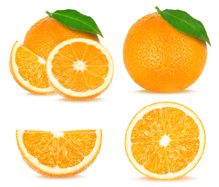 collage of orange isolated on white background