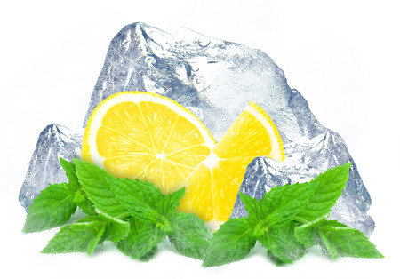 lemon ice and mint isolated white