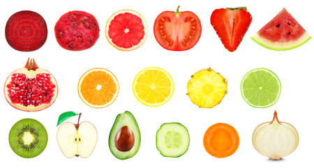 vegetables and fruit slices isolated on white background Stock fotó - 45353469