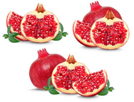 grenadine: pomegranate collection isolated on white background