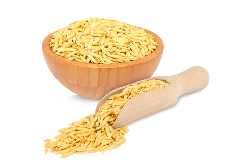 wheat kernel: oats in a bowl and scoop isolated on white background
