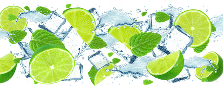 Splash of lime, water and ice cubes isolated on white