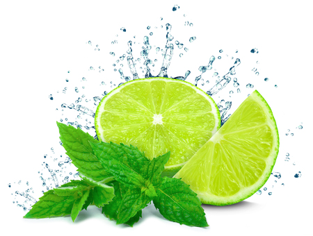 Lime water splash and mint isolated Stock Photo