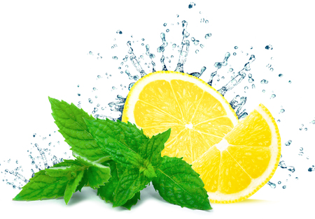 Lemon splash water and mint isolated on white background Stock Photo