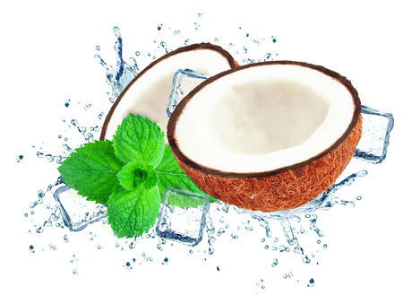 coconut splash water and ice isolated on white Stock fotó