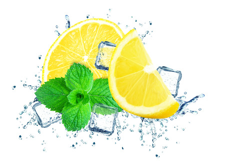 lemon splashing water and ice cubes isolated on the white
