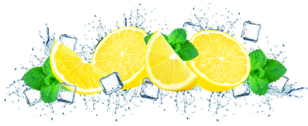 lemon water splash and ice cubes isolated on white