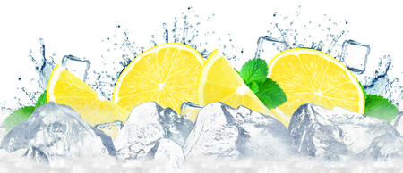 lemon water splash and ice cubes isolated on the white