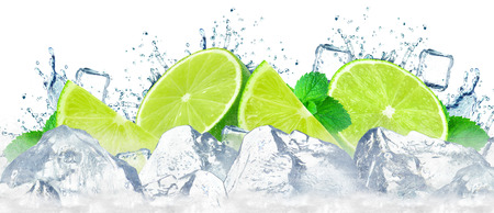 lime water splash and ice cubes isolated on the white Standard-Bild