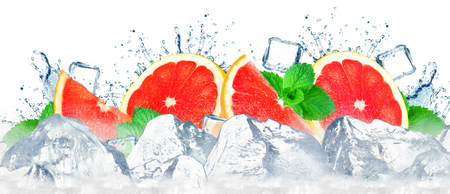 grapefruit splashing water and ice cubes isolated on the white Stock fotó