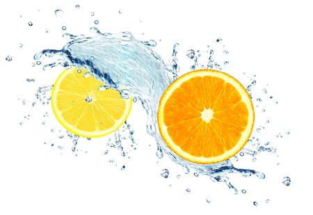 orange and lemon with water splash isolated on white