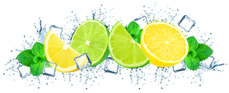 lime and lemon with water splash isolated on white