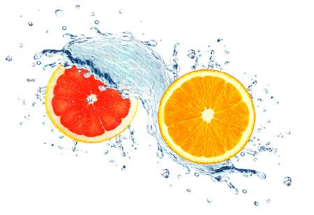 orange and grapefruit splashing water isolated on white Stock fotó