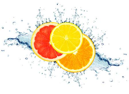 grapefruit, lime and orange water splash isolated on white Stock fotó