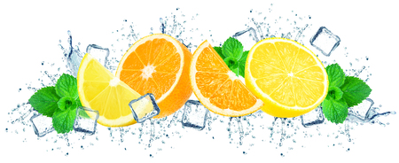 oranges and lemon with water splash and ice cubes isolated on white Stock fotó