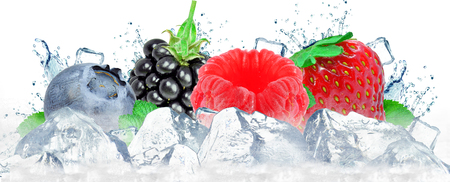 forest fruit berries splash water and ice cubes isolated on the white Stock fotó