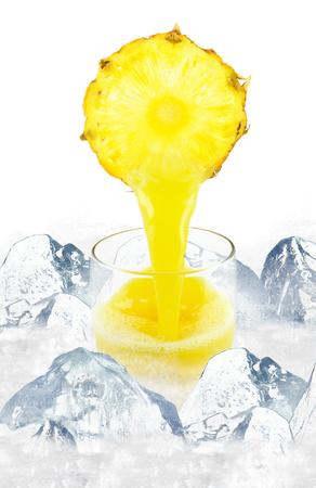 pineapple juice in a glass splash