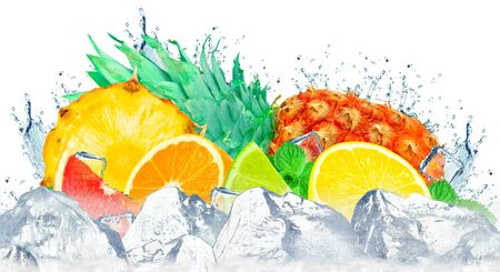 citruses splash water and ice and pineapple isolated on a white background Stock fotó