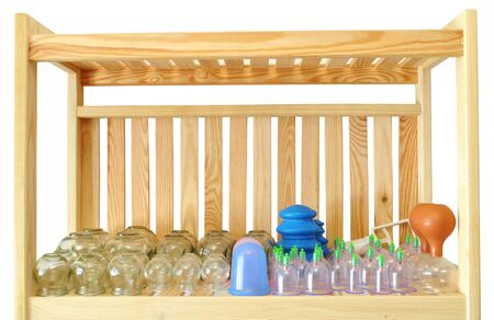 massage bubbles on a wooden shelf isolated