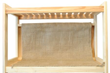 shelf, wooden bookcase, wool isolated on white Stock fotó