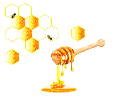 dripping honey and honeycomb isolated on the white