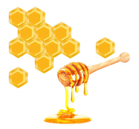 honeycomb and dripping honey isolated on a white background