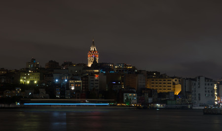 sunni: Istanbul, night, quay, jetty. pier
