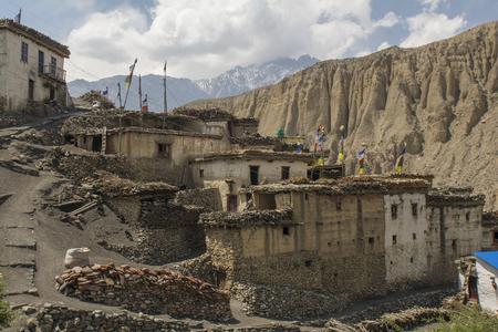 tibetan house: Nepal, Himalayas, Mustang, Lupra Stock Photo