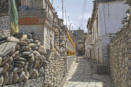tibetan house: Nepal, Himalayas, Mustang, Kagbeni Stock Photo