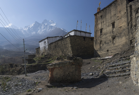 nepal, mustang, village mountain landscape annapurna travel nature